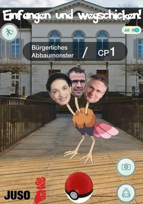 Das «bürgerliche Abbaumonster» bestehend aus Straussenkörper und den Gesichtern von Marianne Binder, Matthias Jauslin und Andreas Glarner
