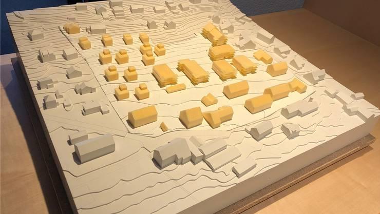 Modell des Projekts «Sandacher». In der Bildmitte sind die sechs neuen Wohnblöcke.