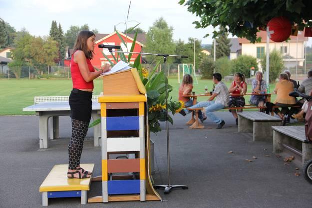 Anita Weyermann bei ihrer Rede in Mülligen.