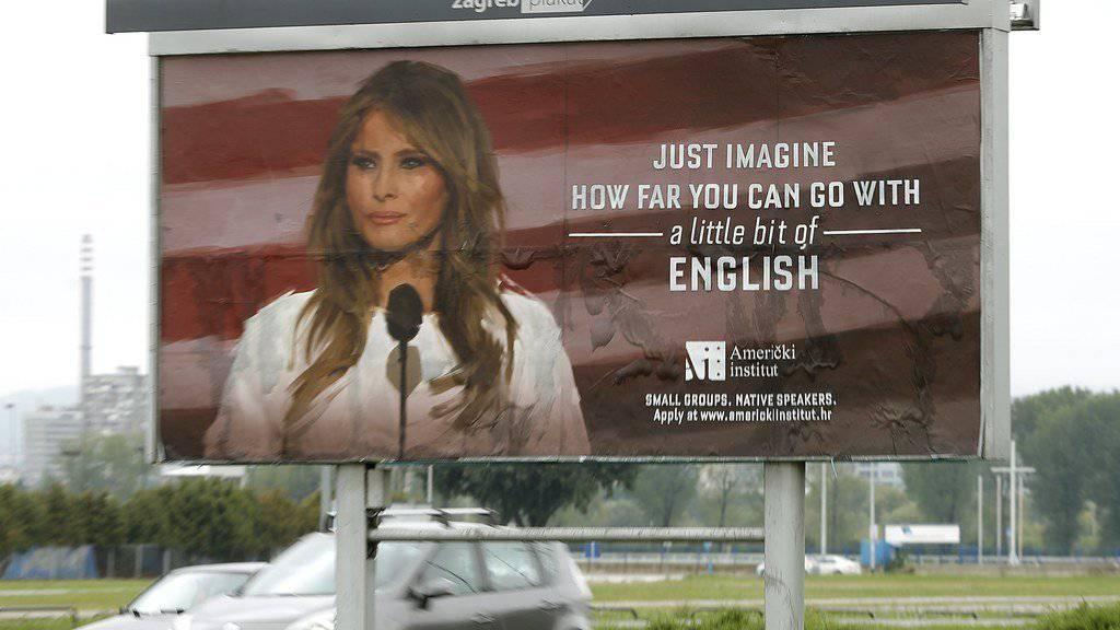 Das Werbeplakat einer Sprachschule in Kroatien erzürnt Melania Trump.