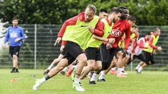 Los gehts in die neue Saison: Markus Neumayr (vorne) ist einer der wenigen verbliebenen Promis beim FC Aarau.