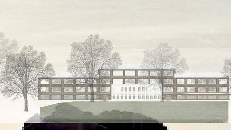 Perspektive Süd: Ein Stockwerk im östlichen Gebäudeflügel wird gestrichen