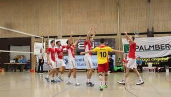 Die Volleyballer von Laufenburg-Kaisten freuen sich über den 3:1-Sieg gegen Klettgau. zVg