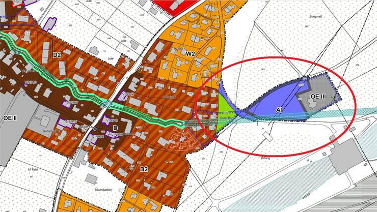 Die vorgesehene Arbeitszone befindet sich am östlichen Dorfrand. zvg