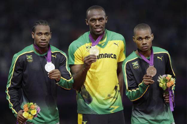 Die Jamaikaner dominieren Johan Blake, Usain Bolt und Warren Weir