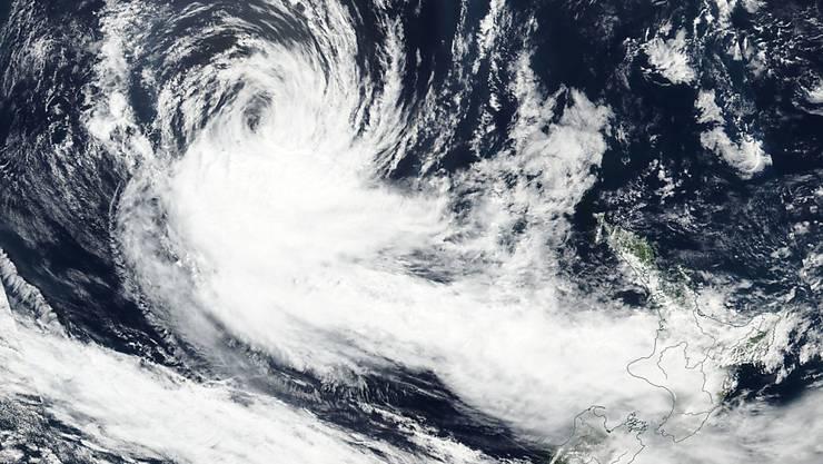 """Eine Luftaufnahme von Zyklon """"Gita"""" auf dem Weg in Richtung Neuseeland."""