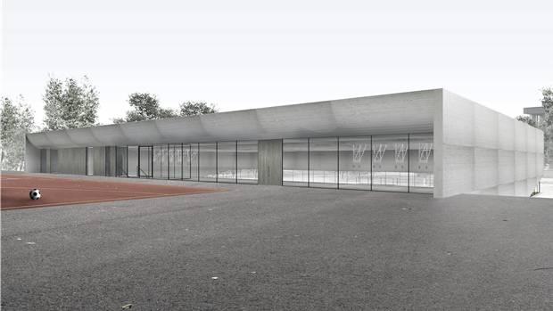 Visualisierung der geplanten Dreifach-Turnhalle Margeläcker.