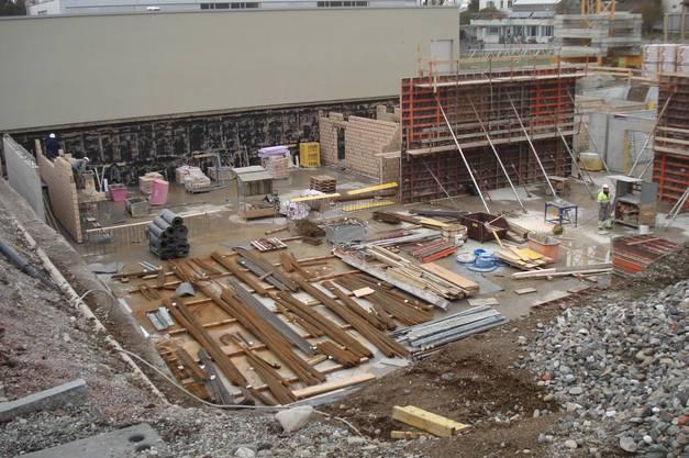 Februar 2014 Blick in die Baugrube der Turnhalle