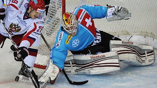 Schweizer Goalie Stephan in Aktion.