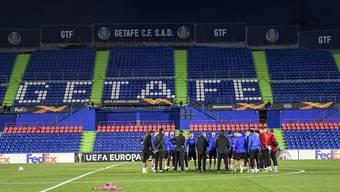 Im Stadion symbolisch, in der Tabelle tatsächlich: Getafe steht über dem FCB. Mit einem Sieg heute würde der FCB aber Gruppenerster.