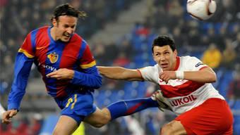 Der eine ist heute FCB-Sportchef, der andere FCB-Captain: Marco Streller und Marek Suchy im Europa-League-Spiel zwischen Basel und Spartak Moskau im Februar 2011. KEY