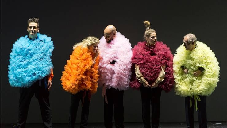 Skelt!, Susanne Hueber, Patrick Gusset, Sarah Speiser und Daniel Buser (von links) im ersten Raamestiggli am Drummeli 2016.