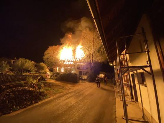 Der Brand in Lampenberg war auch von Weitem zu sehen.