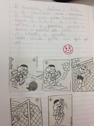 Auch kleine Aufsätze mit Hilfe von Bildern gehören zum Unterricht