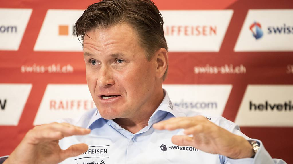 Urs Lehmann, der Präsident von Swiss-Ski, äussert sich an der Medienkonferenz in Zürich zum Konflikt des Verbandes mit den Lauberhorn-Rennen in Wengen.