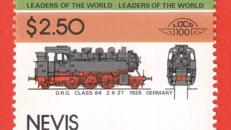 Karibik-Marke mit dem Motiv der Dampflokomotive 64. zvg