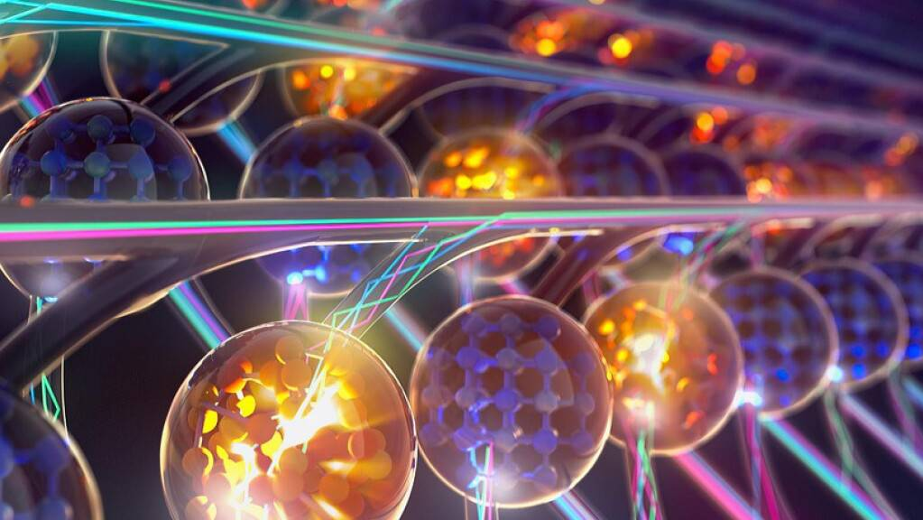 Schematische Darstellung eines Prozessors für Matrix-Multiplikationen, der mit Lichtwellen operiert. (Bild: Universität Oxford)