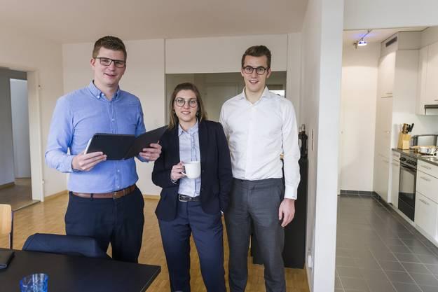 Bewohnen zusammen eine WG (v.l.): Mike Egger (SVP), Franziska Ryser (Grüne) und Andri Silberschmdit (FDP).