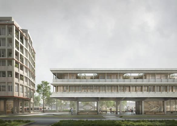 Der neue Bahnhof von Bremgarten in einer Visualisierung