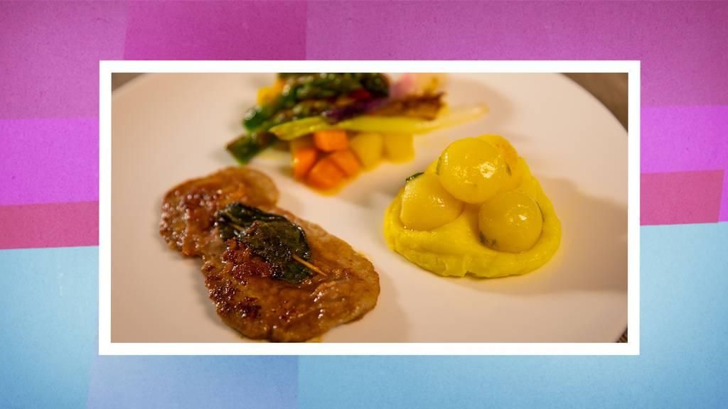 Römerschnitzel, Salzkartoffeln und saisonales Gemüsebouquet