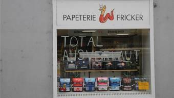 Totalausverkauf wegen Geschäftsaufgabe: Die Papeterie Fricker schliesst Ende Jahr. mf