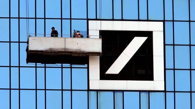 Das Logo der Deutschen Bank am Hauptsitz in Frankfurt (Archiv)