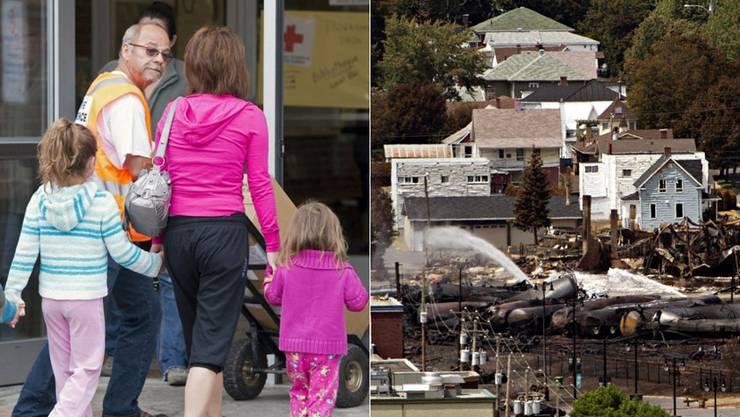 Eine Familie in einer Notunterkunft in Lac-Mégantic. Nach dem Zugunglück können die Bewohner wieder in ihre Häuser zurück.