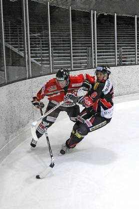 Voller Einsatz an der Bande von Thuns Jan Segessenmann (links ) und Basels Kari Rieder.