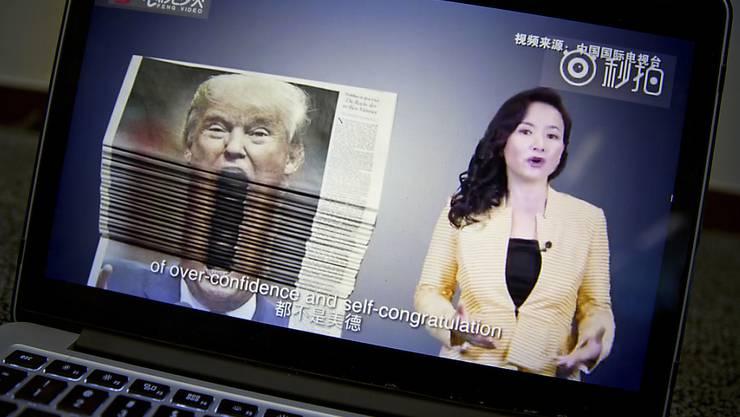 """""""Übersteigertes Selbstvertrauen und Selbstbeweihräucherung"""": So berichtet das chinesische Staatsfernsehen über den Handelsstreit zwischen Washington und Peking."""