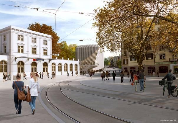 """Blick auf das """"Haus zum Falken"""", der Stadelhoferplatz ist von Velos befreit."""