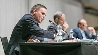 Gesundheitsdirektor Jean-Pierre Gallati, Innendirektor Urs Hofmann und Finanzdirektor Markus Dieth (von links) müssen Coronafragen beantworten.