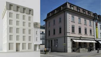 Bahnhofstrasse 53: Sibylle Wälty hat das Modell des zuständigen Aarauer Architekturbüros bearbeitet (links).