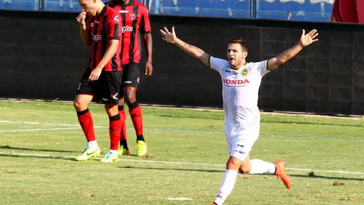 Renato Steffen bejubelt in der 36. Minute seinen Treffer zur zwischenzeitlichen 1:0-Führung der Young Boys gegen Ermis Aradippou