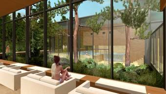 So soll die Saunalandschaft mit Blick auf einen kleinen Waldgarten gestaltet werden. ZVG