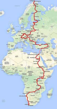 Die Route von Alfred Huber – in zwei Jahren will er wieder in der Schweiz sein