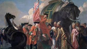 Robert Clive nach der Schlacht bei Plassey.