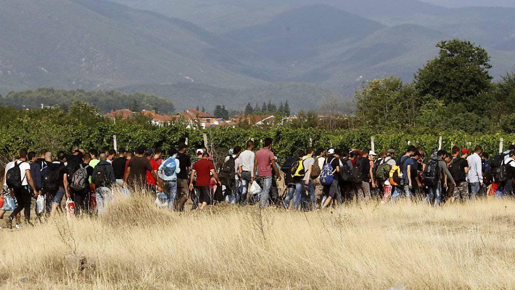 Eher die  EU und nicht die Schweiz als Ziel: Flüchtlinge unterwegs auf der Balkan-Route.