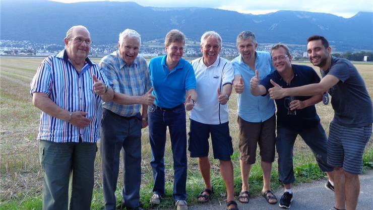 Sieben der bisherigen zehn Zunftmeister in der Reihenfolge ihres Wirkens (v.l.): Gert Pfister, Albert Weder, Jürg Zahler, Rolf Dürrenmatt, Urs Weder,Dominick Hirsch und Lukas Tobler.