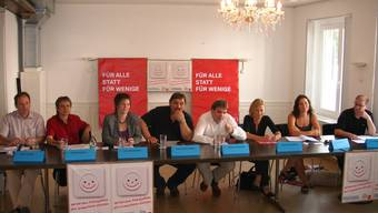 Peter Schaffer, Philipp Hadorn, Franziska Burkhalter, Jean-Pierre Summ, Markus Schneider, Susanne Schaffner, Franziska Roth und Urs Huber kämpfen für die Anliegen ihrer Partei.