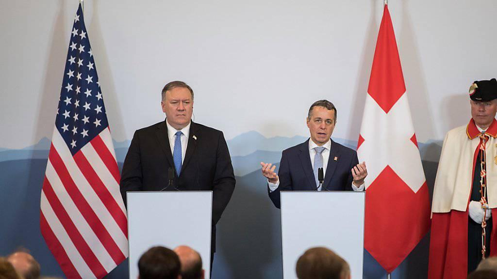 US-Aussenminister Mike Pompeo (links) mit Bundesrat Ignazio Cassis in Bellinzona.