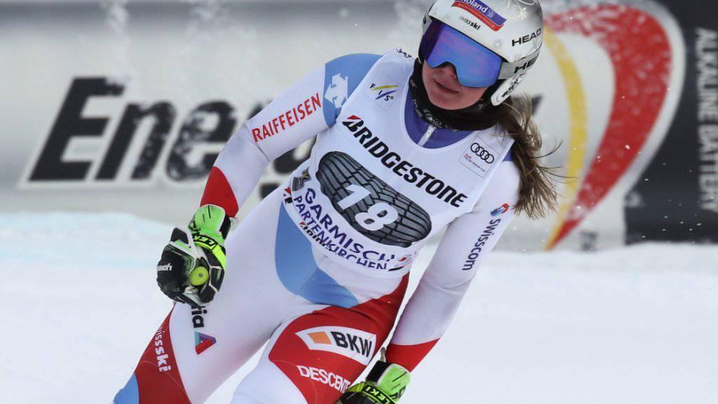 Corinne Suter im Ziel nach dem Abschlusstraining zur Weltcup-Abfahrt in Garmisch-Partenkirchen