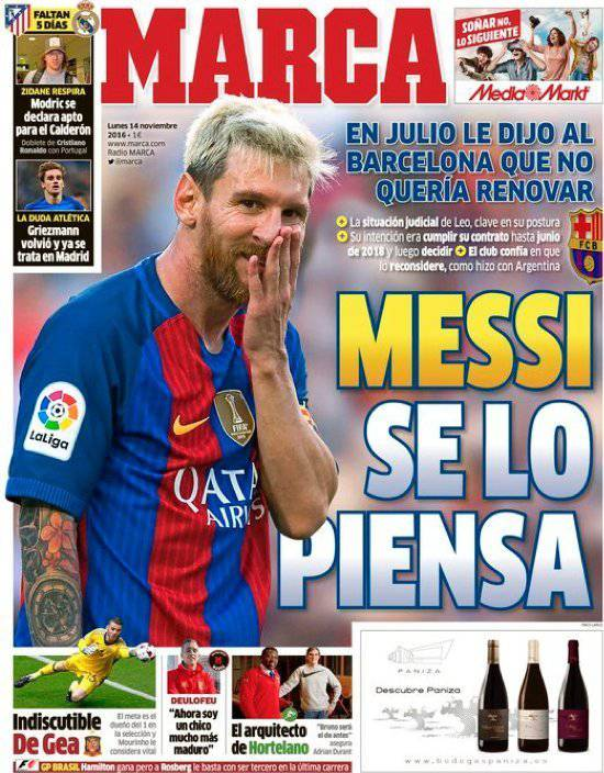 Lionel Messi auf dem Titelblatt der «Marca».