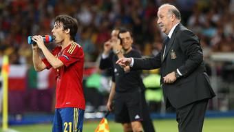 Vicente del Bosque gibt David Silva Anweisungen.