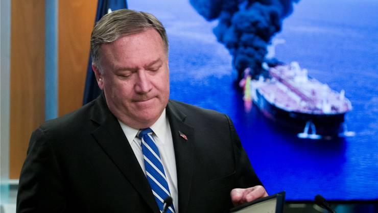 US-Aussenminister Mike Pompeo beschuldigt den Iran für die Tanker-Angriffe.