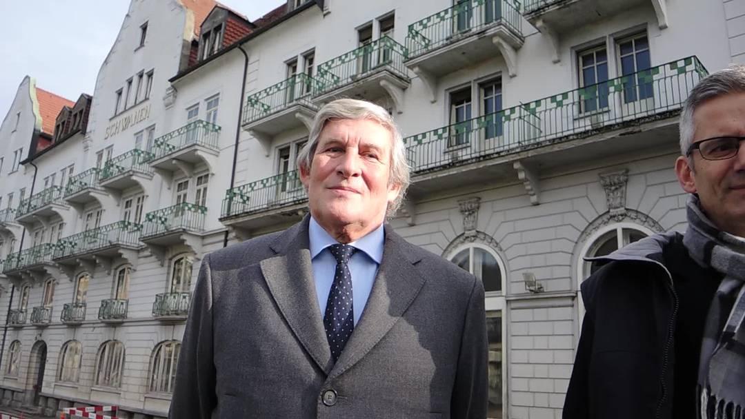 Im Doppelinterview vor dem «Schwanen» in Ennetbaden: Bauherr Paul Wyss und Gemeindeammann Pius Graf