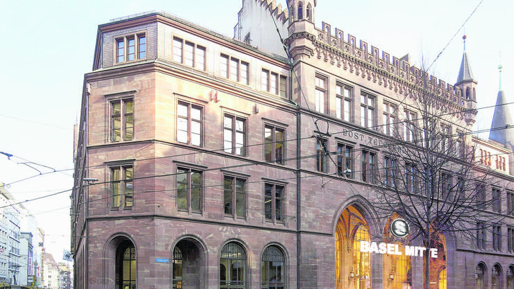 Künftig Bahnhof? Hauptpost Basel. Visualisierung.