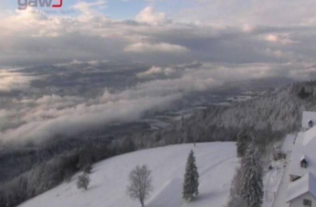 Weissenstein im Schnee. Diese Webcam-Aufnahme stammt vom Montag, kurz nach 9 Uhr.