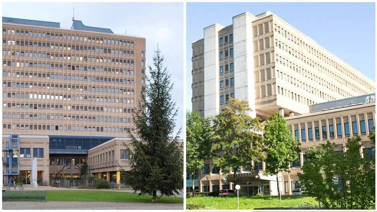 Patienten mit Corona-Verdacht werden in den Kantonsspitälern Baden (links) oder Aarau behandelt.