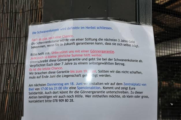 Ein Plakat macht auf die drohende  Schliessung und die Gönneraktion aufmerksam