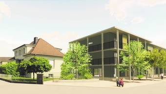 In der ersten Bauetappe bleibt das bestehende Gebäude (links) stehen, der Neubau gliedert sich um ihn herum.